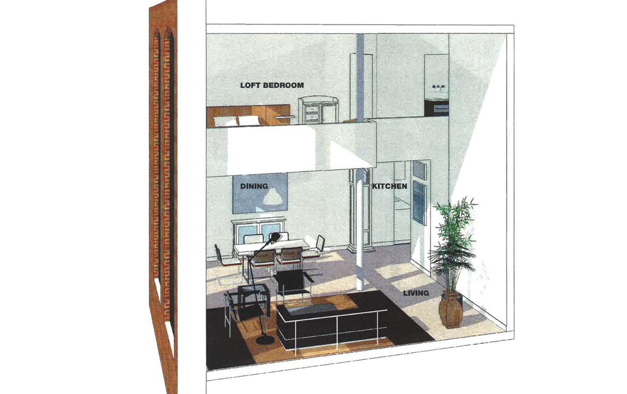 One Bedroom Loft cutaway view