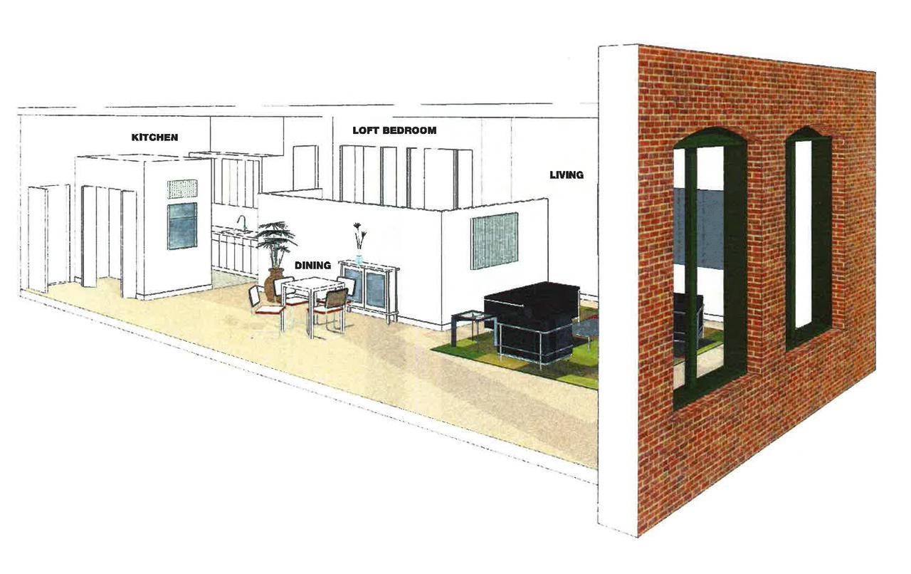 Split level loft apartment cutaway view