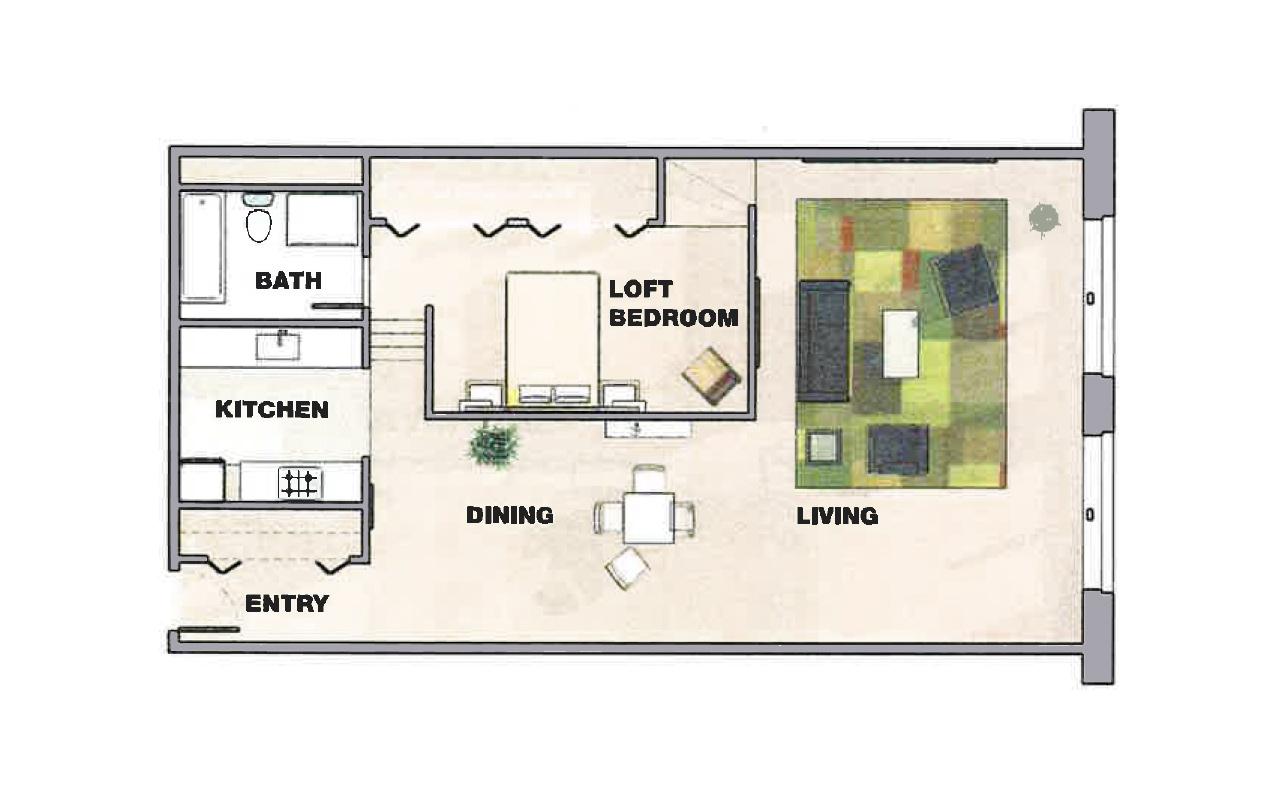Split level loft apartment floor plan