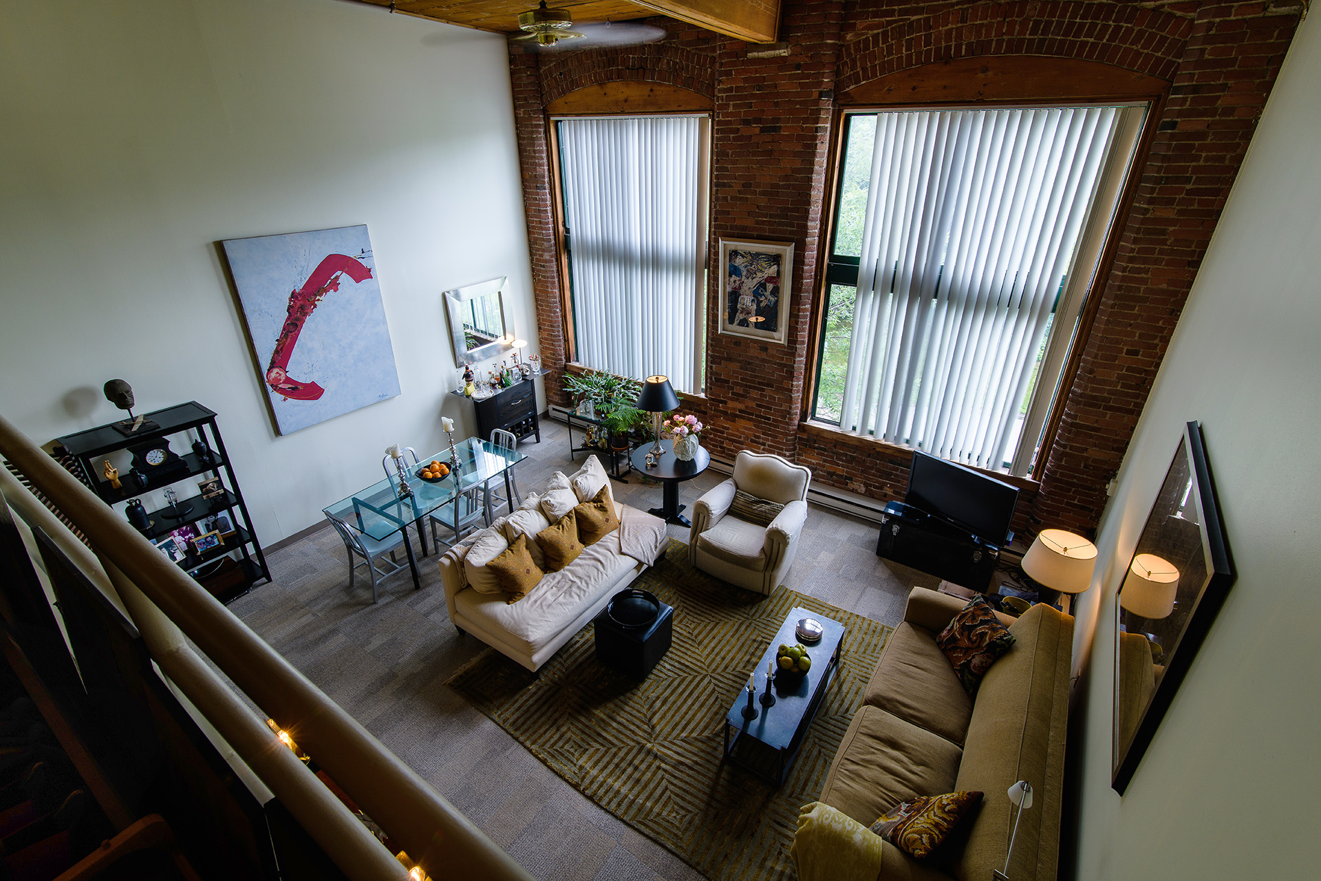 The Woolen Mill loft apartment features high ceilings